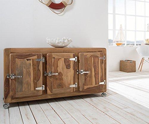 DELIFE Kommode Zakarya Sheesham Natur 145 cm 3 Türen Massivholz Sideboard