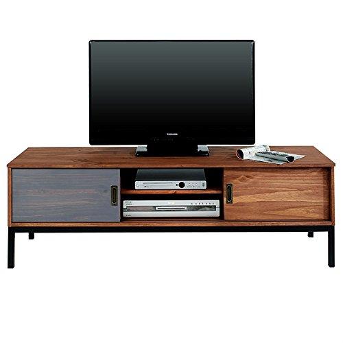 IDIMEX Lowboard TV Möbel SELMA, Fernsehtisch Fernsehschrank im industrial Design mit 2 Schiebetüren 1 offenes Fach, Kiefer massiv, braun gebeizt