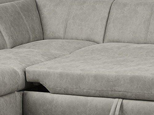 CAVADORE Ecksofa Bules mit Bett/Großes Schlafsofa mit Ottomane links/Inkl. verstellbarer Kopfteile/274 x 81 x 232 (BxHxT)/Lederoptik hellgrau