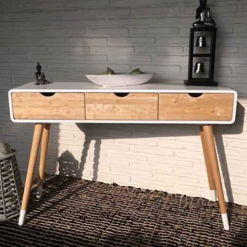 Konsolentisch 120 x 30 x 80 cm skandinavisch weiß natur retro mit drei Schubladen als Flurkommode Wandtisch Kommode Konsole Sideboard Anrichte Schminktisch Sekretär Schreibtisch