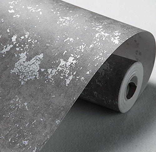 """Stilvolle Retro Tapete Abstrakt Muster von Rauch Grau meliert Zement Faserstoff Uni Wohnzimmer Kleidung STORE Tapete 0,53m (52,8cm) * 10Mio. (32,8') M = 5.3sqm (M³), """",Only the wallpaper, Smoked """"37125"""