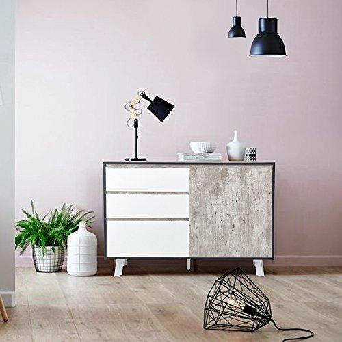 Sideboard Schrank ihouse 1Tür 3Schubladen Sideboard skandinavischen Retro Stil Moderne Schlafzimmer Wohnzimmer Aufbewahrung Möbel Farbe marmor