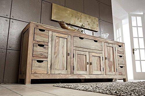 Palisander Massivholz Sideboard Sheesham Holz Möbel Nature Grey #080