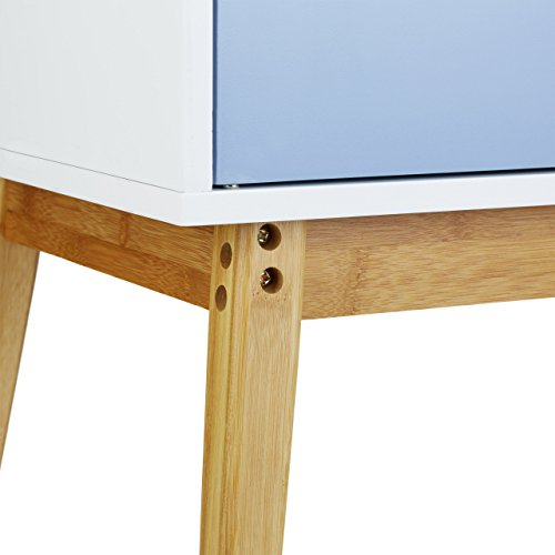 Relaxdays Sideboard Retro im Skandinavischen Design HBT: 72 x 80,5 x 40,5 cm Nostalgischer Beistellschrank aus Holz mit 2 Flügeltüren als klassische Kommode oder Schränkchen matt lackiert, blau weiß