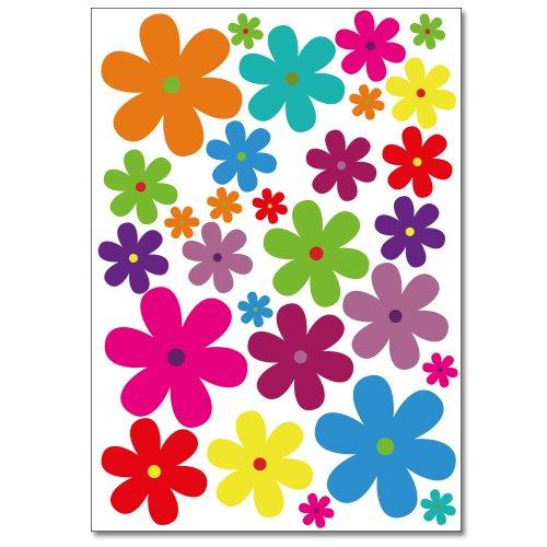 WANDKINGS Blumen Design 3 Wandsticker Set, 62 Aufkleber, 2 DIN A4 Bögen, Gesamtfläche 60 x 20 cm