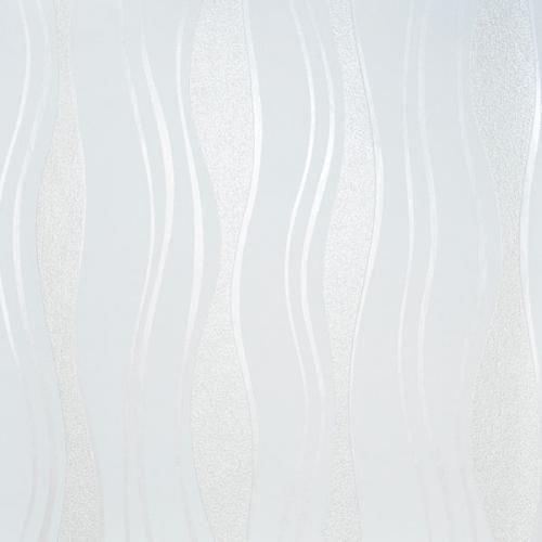 13191-20 13191-30) 1 Rolle hochwertige Vlies Tapete coole Retro-Welle mit silber, Farben:Weiß