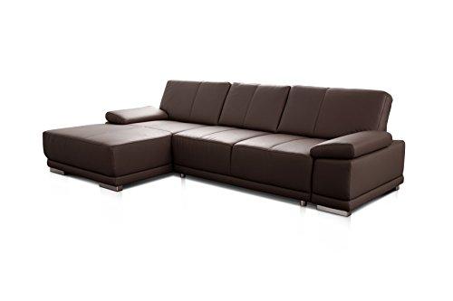 Cavadore Ledersofa Corianne mit Schlaffunktion / Echtleder L-Couch im modernen Design / Inkl. beidseitiger Armteilverstellung, Longchair links und Bett / Größe: 282 x 80 x 162 (BxHxT) / Bezug: Echtleder dunkelbraun (mocca)