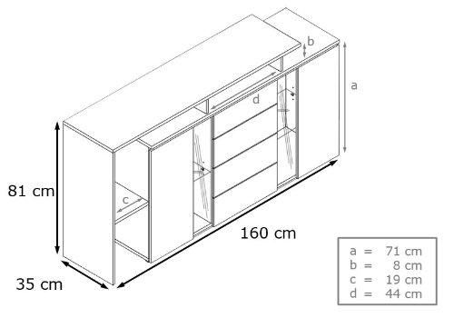 Sideboard Kommode Lissabon in Beton-Optik