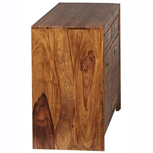 FineBuy Sideboard Massivholz Sheesham Kommode 90 cm 2 Schubladen 2 Türen Design Highboard Landhaus-Stil braun natur Echt-Holz Schubladenkommode Natur-Produkt Flur-Möbel Aufbewahrung Dielen-Möbel
