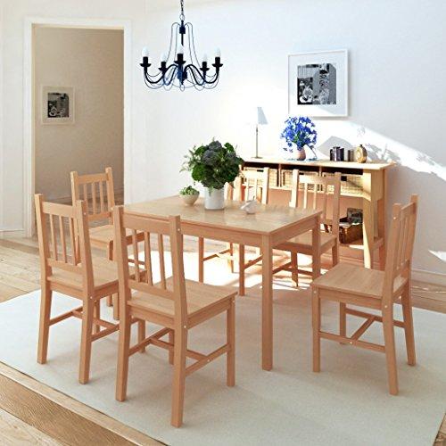 Festnight 7tlg.-Set Essgruppe mit Esszimmertisch + 6 Essstühle Küchentisch Esszimmerstuhl Esstisch-Set aus Pinienholz Braun
