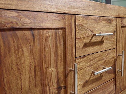 FineBuy Sideboard Massivholz Sheesham Kommode 118 cm 3 Schubladen 2 Türen Design Highboard Landhaus-Stil braun natur Echt-Holz Schubladenkommode Natur-Produkt Flur-Möbel Aufbewahrung Dielen-Möbel