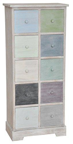 Kommode - Sideboard - Highboard weiß / mehrfarbig, Retro Style, mit 10 Schubladen, 50 x 115 cm