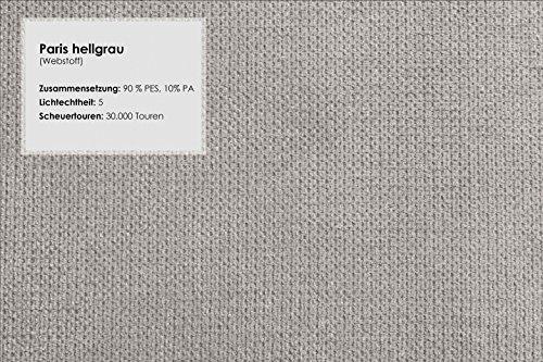 CAVADORE Hocker Gootlaand/Passend zu Landhaus Garnitur Gootlaand/Sitzhocker mit Federkern/Maße: 101 x 66 x 45 cm (BxHxT)/Farbe: Hellgrau/Füße: Buche antik