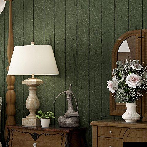 CCDRBZ American retro Dunkelgrün mit Holzmaserung Vlies Tapete Wohnzimmer Hintergrund Schlafzimmer boutique Mediterranes Restaurant Wallpaper