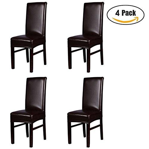 Zhaoke 4Stück PU Leder Sessel, wasserdicht Esszimmerstuhl Displayschutzfolie abnehmbarem Schonbezug für Wohnzimmer Hochzeit Bankett Party Decor, Kunstleder, braun, Einheitsgröße