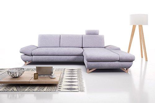 mb-moebel Ecksofa Eckcouch mit Bettkästen mit Schlaffunktion Soft Couch Wohnlandschaft L-Form Polsterecke Merida Grau (Ecksofa Links)