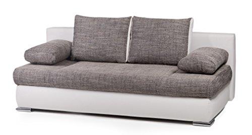 B-famous 100682 Schlafsofa, Stoff, weiß/grau, 95 x 200 x 72 cm