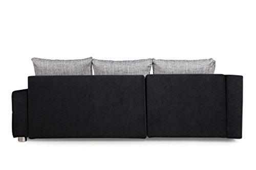 B-famous 100736 Polsterecke mit Bettfunktion und Bettkasten Ecksofa, Stoff, schwarz/grau, 161 x 224 x 83 cm