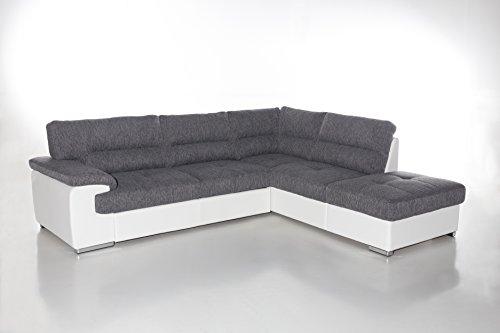 Cotta C783562 C121 D200 Lucky Polsterecke Stoff, grau / weiß, 279 x 232 x 93 cm