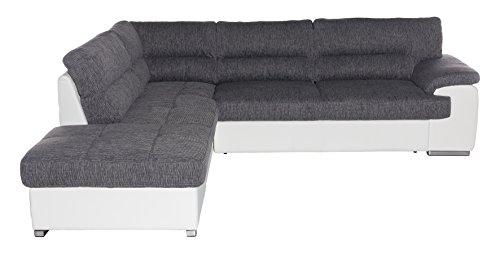 Cotta C783563 C121 D200 Lucky Polsterecke Stoff, grau / weiß, 232 x 279 x 93 cm