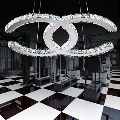28W LED Deckenleuchte Moderne Einfache Romantische Wohnzimmer Esszimmer K9 Crystal Klar Deckenlampe Elegante Edelstahl Spiegel Lampe Creative Studie Deckenbeleuchtung Weißes Licht 6000K L53cm * W40cm