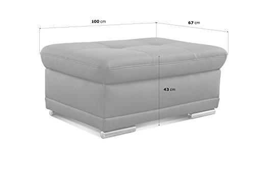 CAVADORE Polsterhocker Aniamo/Gepolsterter Hocker als Fußbank/Größe: 100 x 43 x 67 cm (BxHxT)/Bezugsstoff in Kunstleder Fango (grau/braun)