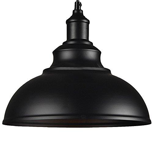 BAYCHEER Hängeleuchter Deckenleuchte Industrielampe Vintage Lampenschirm E27 Durchmesser 30CM höhenverstellbar Schwarz