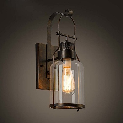 BAYCHEER Laterne Retro Vintage Pendelleuchte Hängelampe Industrie Kronleuchter Deckenlampe E27 Fassung höhenverstellbar mit Glas für Wohnzimmer Esszimmer Restaurant