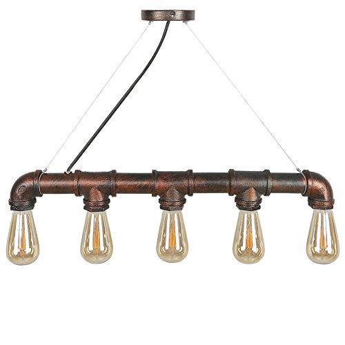 CCLIFE Wasserrohr Industrial Hängelampe Pendellampe Pendelleuchte Deckenlampe Vintage Retro Hängeleuchte für Küchen Esszimmer Schwarz E27 Leuchtmittel 60W mit 5 Fassung