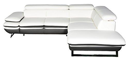 Cotta C733895 D200 D208 Polsterecke Lederimitat, weiß / grau, 265 x 223 x 74 cm