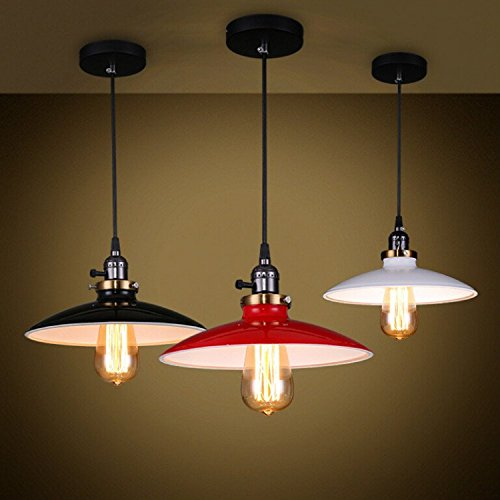 Einkopf Retro Vintage Lampenschirm LED Lampen Hängelampe Hängeleuchte Deckenleuchte Pendelleuchte Edison Industriebeleuchtung Eisen Schwarz Rot Weiss