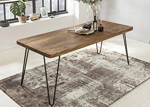 Massiver Esstisch HARLEM Sheesham Massiv Holz | Esszimmertisch Massivholz mit Design Metall Beinen | Holztisch Tisch Esszimmer | Küchentisch