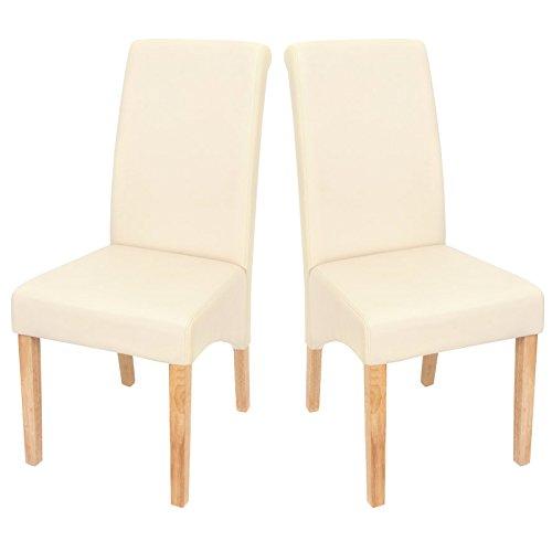 Mendler 2x Esszimmerstuhl Lehnstuhl Stuhl M37 ~ Kunstleder matt, creme, helle Füße