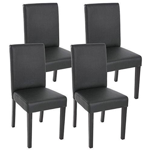Mendler 4x Esszimmerstuhl Stuhl Lehnstuhl Littau ~ Kunstleder, schwarz matt, dunkle Beine