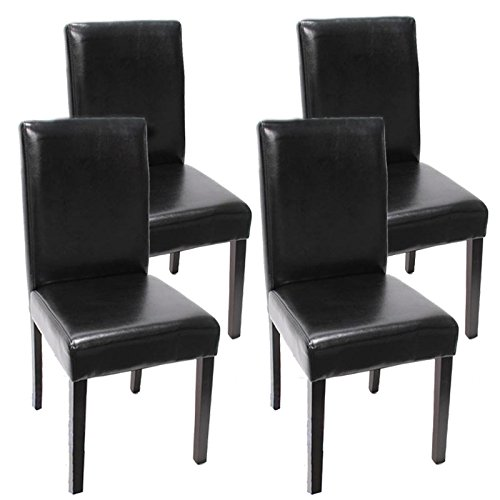 Mendler 4x Esszimmerstuhl Stuhl Lehnstuhl Littau ~ Leder, schwarz dunkle Beine