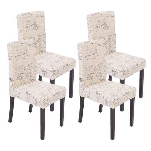 Mendler 4x Esszimmerstuhl Stuhl Lehnstuhl Littau ~ Textil mit Schriftzug, creme, dunkle Beine
