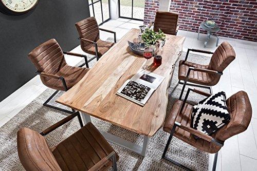 SIT Tisch mit Baumkante Gestell silbern - 180 x 90 cm