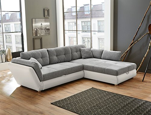 Wohnlandschaft Jacobo 297x207 cm grau weiß Funktionssofa Eckcouch Polsterecke Bettkasten Couch Sofa Wohnzimmer