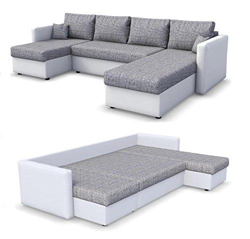 Wohnlandschaft KING SIZE 290 x 140 cm Weiß Grau - Sofa mit Schlaffunktion Schlafsofa Couch Bettfunktion Polsterecke