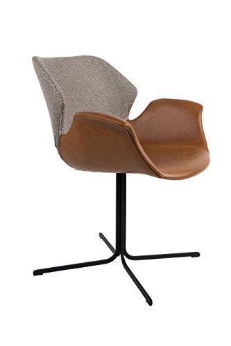 Zuiver 1200137 Armchair Nikki Set of 2, Lederimitat, Braun, 62 x 66 x 80 cm