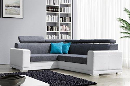 mb-moebel Ecksofa Eckcouch mit Bettkasten Sofa Couch L-Form Polsterecke Grau Weiß Nile II
