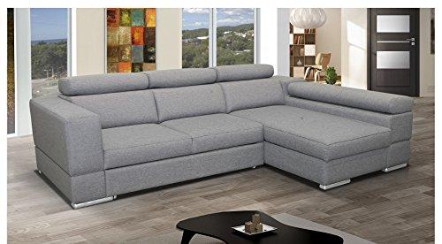 mb-moebel Ecksofa mit Schlaffunktion Eckcouch Sofa Couch L -Form Polsterecke Grau Isabel