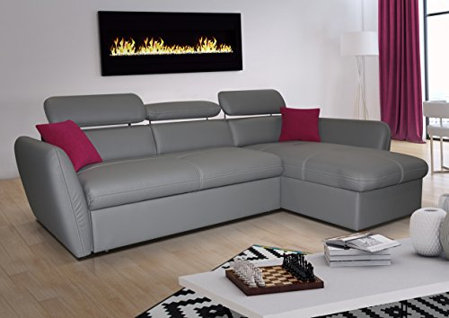 mb-moebel Ecksofa mit Schlaffunktion Eckcouch Sofa Couch L -Form Polsterecke mit Bettkästen Grau Allen