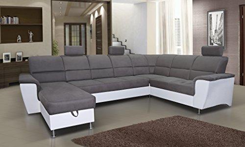 mb-moebel Ecksofa mit Schlaffunktion Eckcouch Sofa Couch U -Form Polsterecke mit Bettkästen Grau + Weiß Bless 3