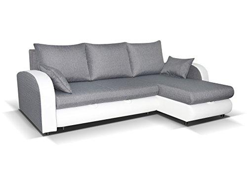 mb-moebel Ecksofa mit Schlaffunktion Eckcouch Sofa Couch mit 2 x Bettkästen L -Form Polsterecke Grau + Weiß Zella