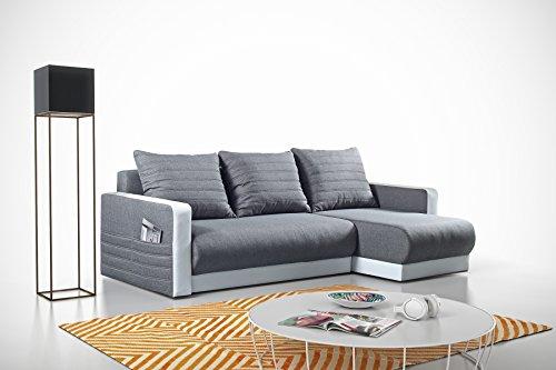 mb-moebel Kleines Ecksofa Eckcouch mit Bettkästen mit Schlaffunktion Soft Couch Wohnlandschaft L-Form Polsterecke Grau NIEL