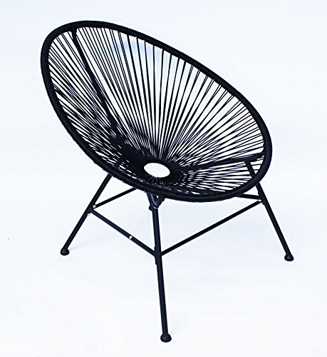 Lounge Sessel Veracruz   Acapulco Stuhl   2er Set Schwarz   Gartensessel   Gartenstuhl   Witterungsbeständig Und Pflegeleicht   Sitzfläche aus Polyrattan   Gestell Aus Pulverbeschichtenen Stahl   Für Innen Und Außen   Schrauben aus Rostfreiem Stahl   H83 x B72 x T87 cm