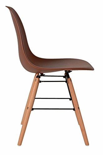 ts-ideen 1 x Design Klassiker Stuhl Retro 50er Jahre Barstuhl Küchenstuhl Esszimmer Wohnzimmer Sitz in Braun mit Holz