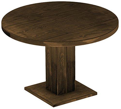Brasilmöbel Esstisch Rio Uno, Pinie Massivholz, geölt und gewachst Eiche antik Cognac, 120 cm rund / 78 cm hoch