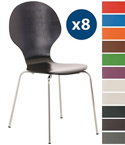 CLP 8 x Stapelstuhl Diego ergonomisch Geformter Konferenzstuhl mit Holzsitz und stabilem Metallgestell I 8 x Platzsparender Stuhl mit Pflegeleichter Sitzfläche I in Verschiedenen Farben erhältlich